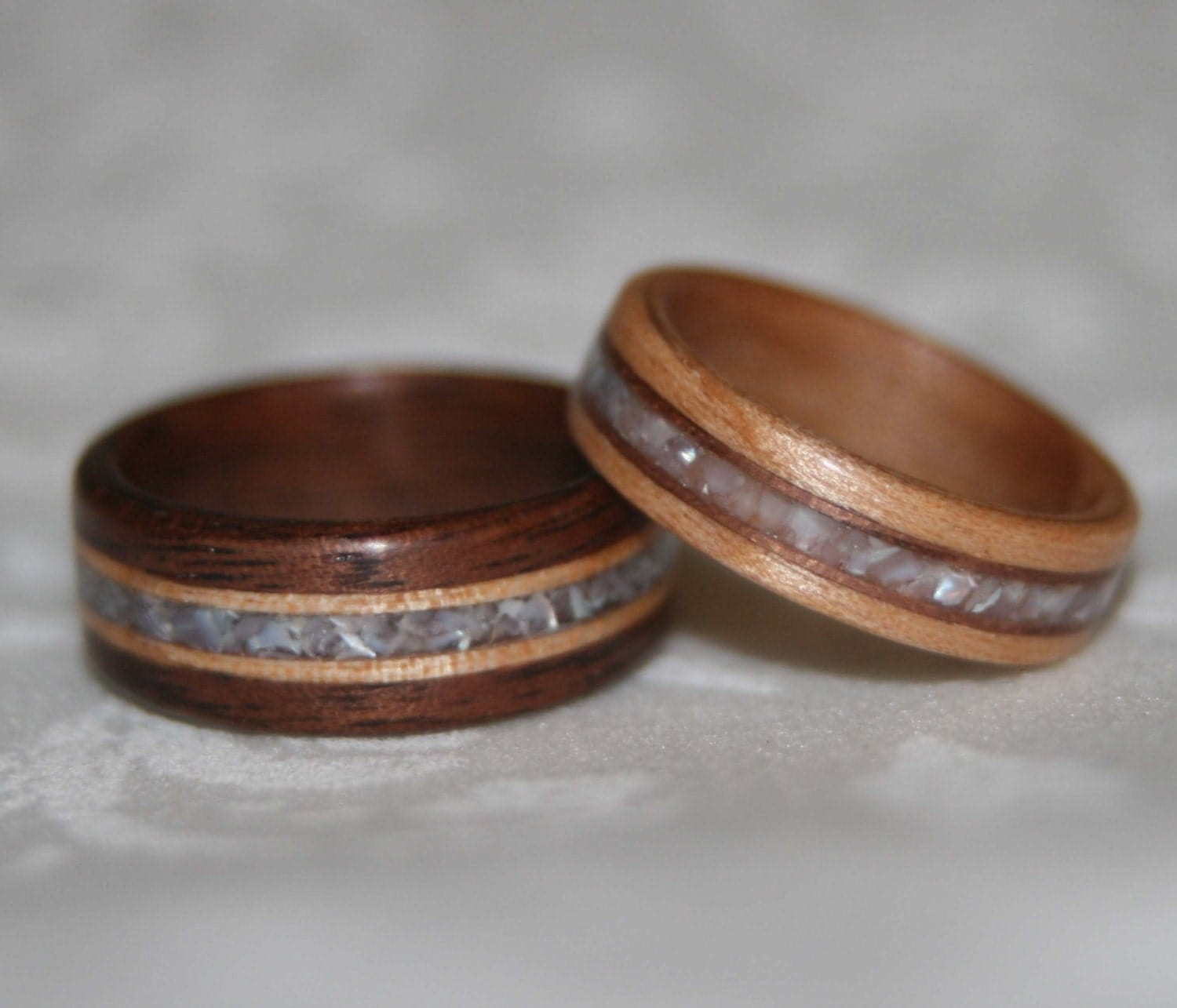 Set Of Custom Wooden Wedding Bands With Wood Accents And Stone