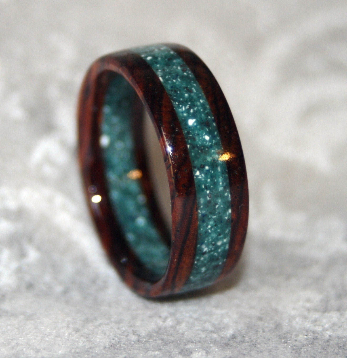 custom wooden or corian wedding band or ring zoom - Wood Wedding Ring