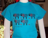 Teal Blue Sweatshirt with Ewes Lambs Sheep size Small
