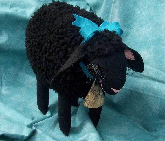 Black Lamb Little Woolie Lamb with Ocean Blue Wool Felt Bow Soft Sculpture