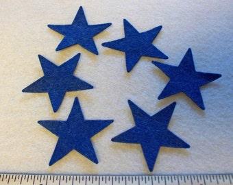 "Wool Felt 1.5"" die cut star shapes 12pcs your color choice"