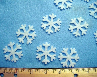 1.5 inch snowflakes 24 pcs craft or wool blend felt your choice of colors