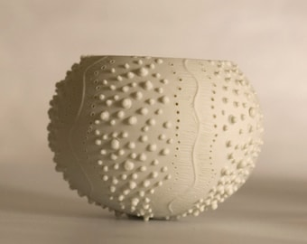ceramic sea urchin candle holder. porcelain tea light delight Collection - ceramic tea light holder N.2 by Wapa Studio.