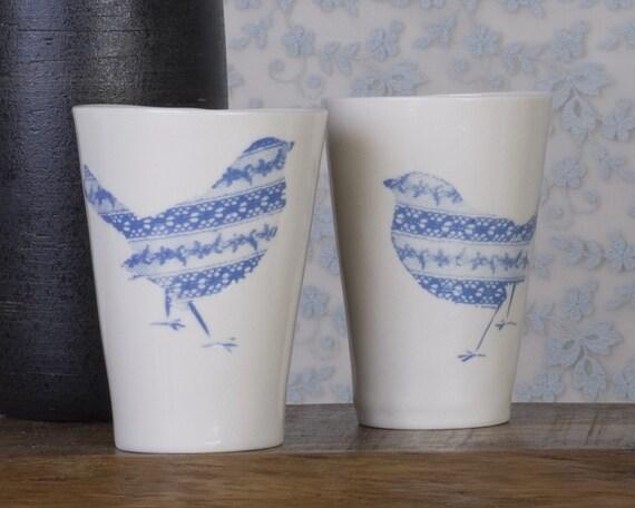 Two Love Birds Porcelain Cups. Design by Wapa Studio.