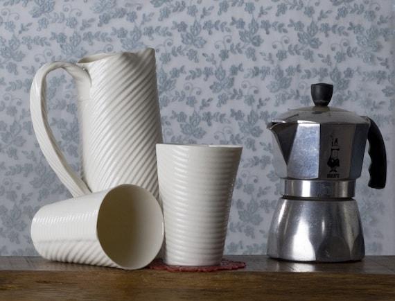 Hand built porcelain cup. white ceramic tumbler. I Walk The Line Porcelain cups Collection. Design by Wapa Studio.