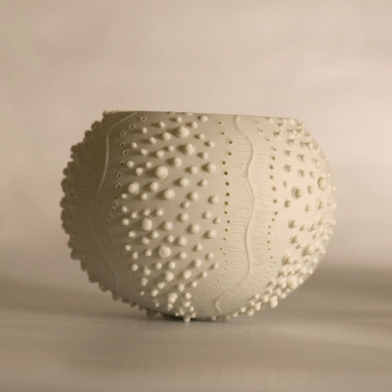 ceramic sea urchin candle holder. porcelain tea light delight