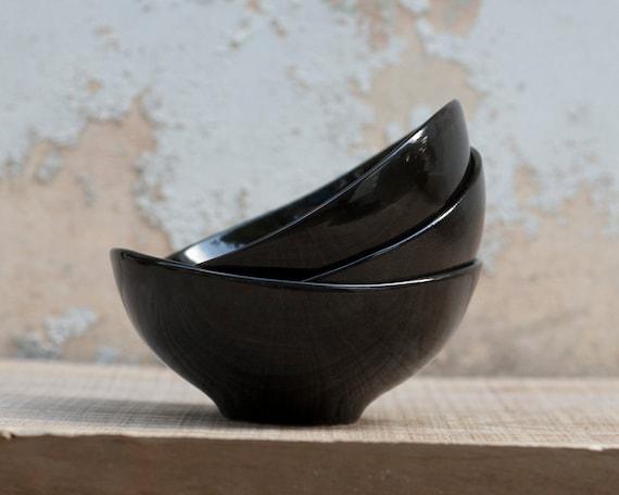 Three Black Porcelain Bowls. For soup, cereal or personal salad. Modern ceramic design. Designed by Wapa Studio.