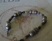 Wood and metal bead bracelet