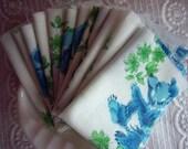 YART SALE. Cottage Shabby Chic Baby Blue Bear Fabric Nursery Vintage