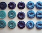 Feeling Blue. Vintage Lot of Blue Buttons