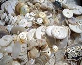 Vintage Jar of White Buttons. Destash