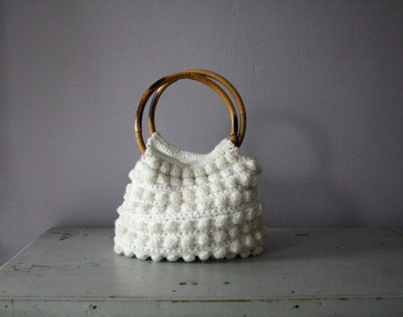 vintage. white. knit. sweater. bag. purse. wooden bamboo handles.