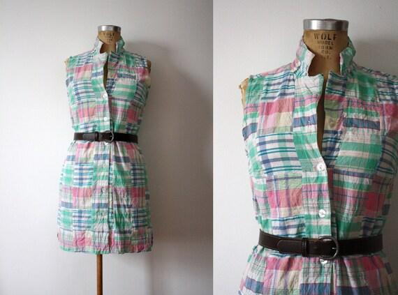 vintage. preppy. plaid. sleevelss. shift cotton dress. small. summer.