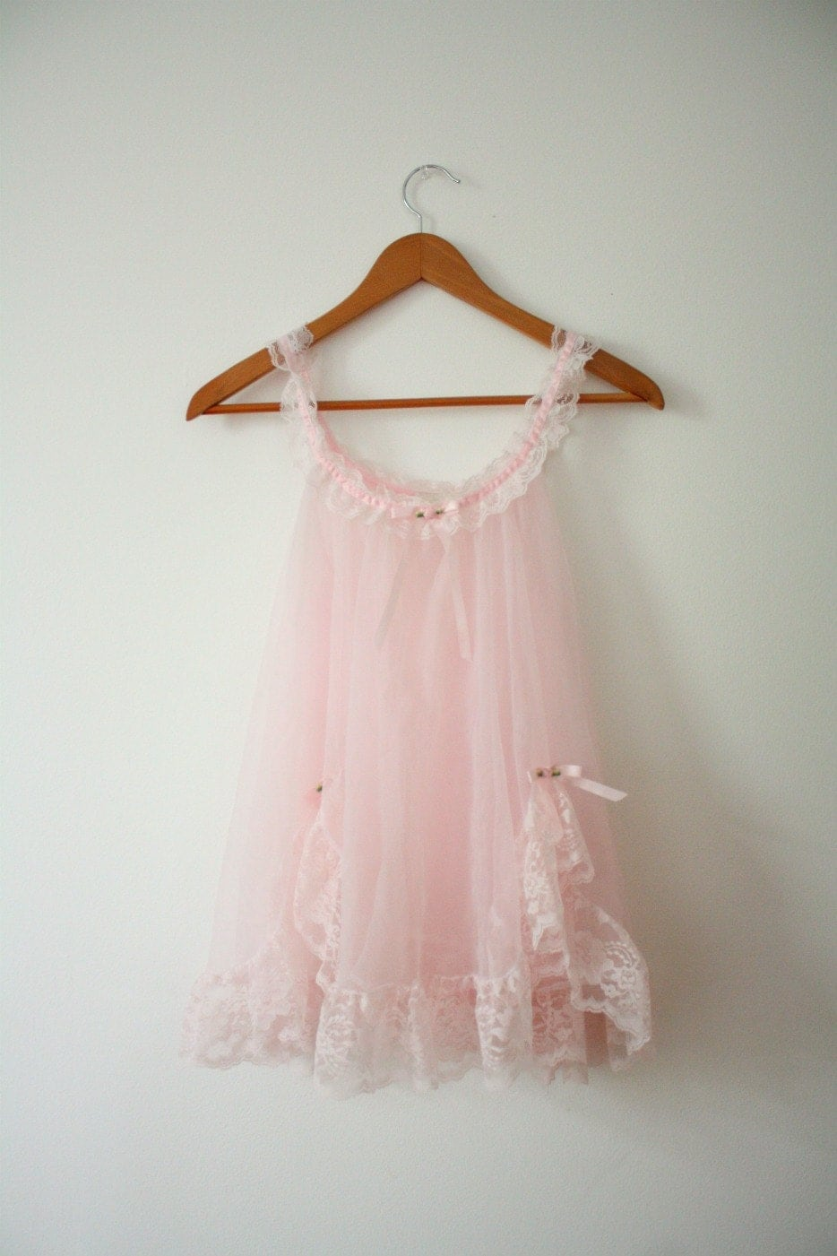 Vintage Baby Pink Small Sheer Tulle Babydoll Nightie
