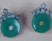 Jade Colored Stones with Rhinestones in Middle and Blue Accent Clip Earrings Pin Set
