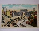 Vintage Postcard Uncirclated Manhattan Bridge Plaza, Canal Street & Bowery New York City