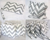 Set of 6 -- Pleated Clutch Wristlet -- Large size -- Chevron -- Ash Gray and White -- Bridesmaid gifts . 10% discount