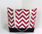 the Tote . Standard size . Chevron beach bag . Red and White . chevron tote bag . Single - Size . great bridesmaid gifts