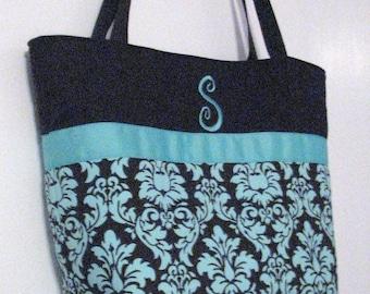 Personalized Diaper Bag . Regular size Dandy Damask Spa . monogrammed FREE . great diaper bag teacher's tote . Personalized Tote