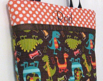 Personalized Diaper Bag . Regular size . DINO DUDES . Monogramming Included .  boy diaper bag toddler tote . boy daycare bag