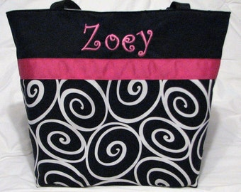 Personalized Diaper Bag . personalized Tote . Regular size  Ebony Ironwork Hot Pink . Teacher tote . bridesmaid gift  MONOGRAMMING Included