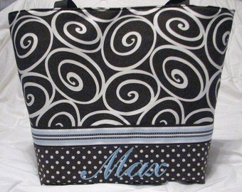 Personalized Tote Diaper Bag . Weekender/XL size . Espresso Ironwork and blue  . boy diaper bag or girl diaper bag