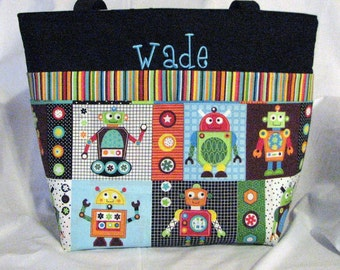 Personalized Diaper Bag .Tote . Weekender/XL size . Silly Robots . monogrammed FREE .  robot diaper bag . boy diaper bag