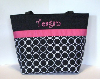 Personalized Diaper Bag Tote  . Ring Dot Black and Hot Pink . Regular size . Monogrammed FREE diaper bag / tote . great girl diaper bag tote