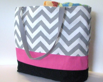 LARGE Chevron Beach Bag . Gray White Touch of Color . Teacher tote . Large Chevron beach Tote  great bridesmaid gifts MONOGRAMMING Available