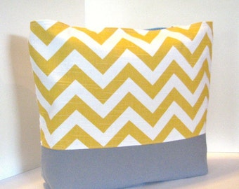 Chevron Tote Bag . Yellow White and Gray . chevron beach bag . Standard size . great bridesmaid gifts . MONGRAMMING Available