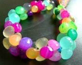 1/2 STRAND---Easter Eggs--Multi Rainbow Chalcedony Micro Faceted Onion Briolettes---REDUCED FROM 28.99