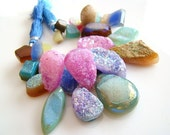 Rainbow Druzy, Mixed Shapes Druzy Briolettes--NUMBER 4---REDUCED FROM 56.99