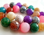 Beautiful Rainbow Agate Disco Faceted Round Beads