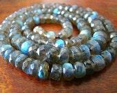 1/2 Strand---Extreme Blue Fire Labradorite Faceted Rondelles