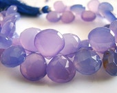 1/2 STRAND---Finest Lilac Chalcedony Faceted Heart Briolettes
