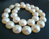 LISTING FOR PAT -- Amazing Ivory Mabe Pearl Double Drilled Round Nuggets--