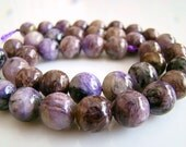 10mm----1/2 Strand Purple Charoite Smooth Round Beads