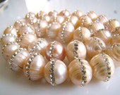 1/2 Strand-- Amazing Inlaid Pave-Creamy Beige Freshwater Pearls
