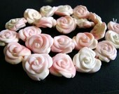 1/2 Strand-- Rarest Of All--Natural Pink/Beige Conch Shell Carved Flower Beads