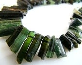 Last Strand---1/2 Strand---Natural Forest Green Tourmaline Rough Cut Top Drilled Crystal Nuggets