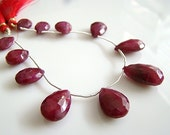 Large Genuine Ruby Faceted Pear Briolettes