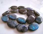 1/2 Strand--Extreme Blue Fire Labradorite Smooth Oval Nuggets