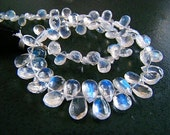 1/2 Strand---AAA---Extreme Blue, Blue Fire Moonstone Faceted Pear Briolettes