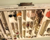 Reinvented Drawer as Jewelry Display in distressed white