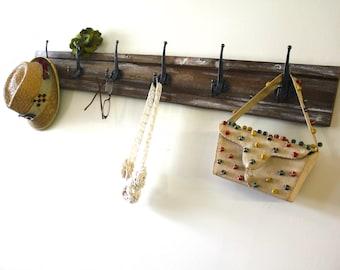 Distressed Dark Wood Hook Rack