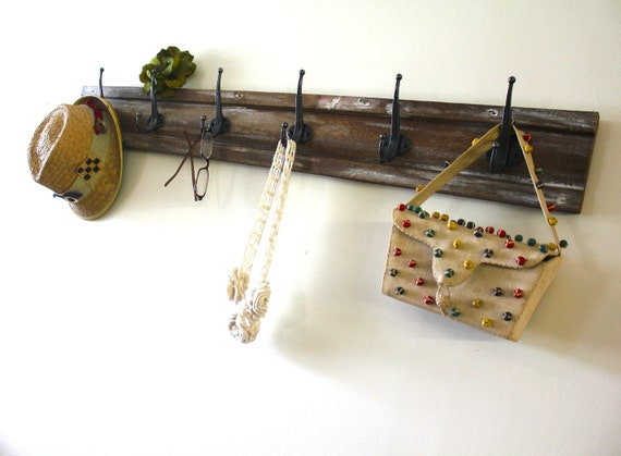 Distressed Dark Wood Hook Rack