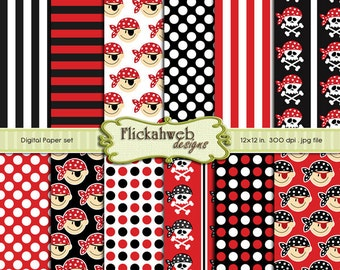 pirate digital papers skulls paper red black and white printable paper pack background Set 1 commercial use instant download