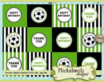 soccer printable toppers or circles for cupcakes tags stickers instant download sports digital topper printables