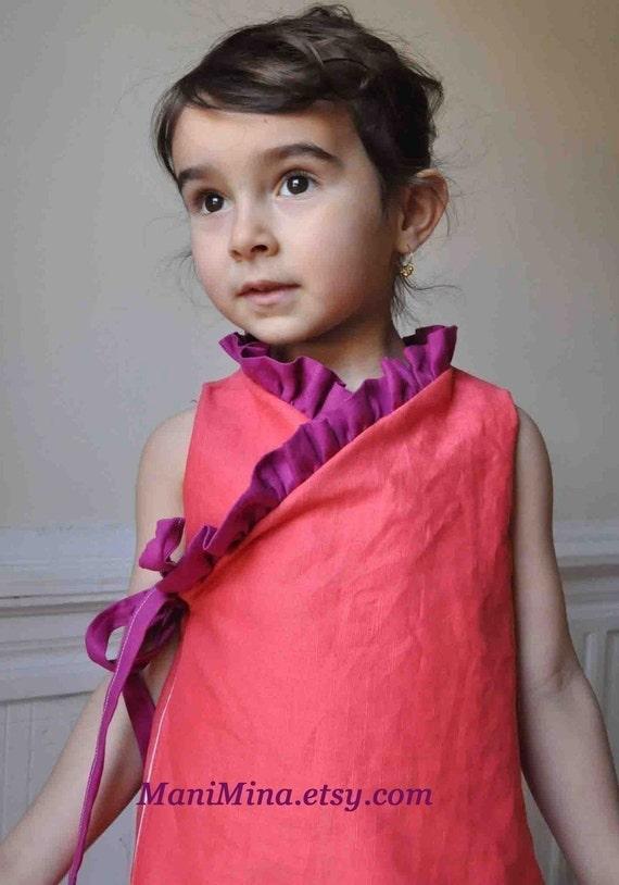 Ruffled Kimono dress -2 OPTIONS - PDF PATTERN -- 12/18m  to 4T