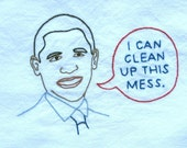 TowelBama -  Barack Obama Dishtowel - Hand Embroidered